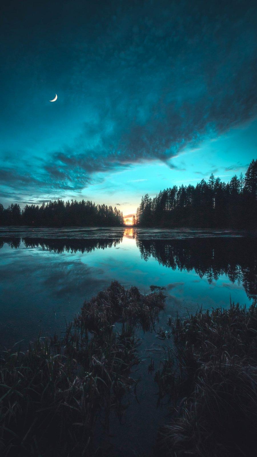 Twilight Lake iPhone Wallpaper