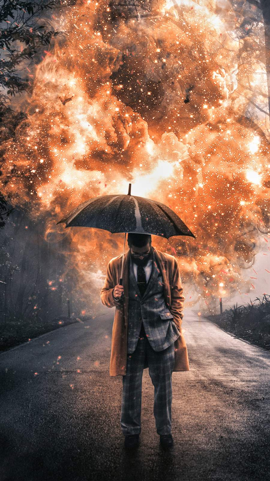 Umbrella Guy iPhone Wallpaper