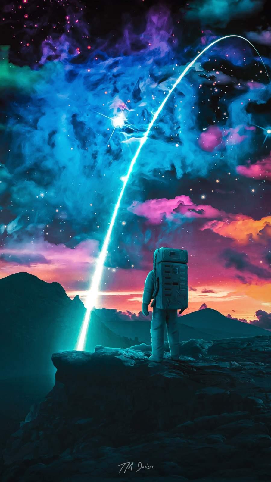 Astronaut Star iPhone Wallpaper