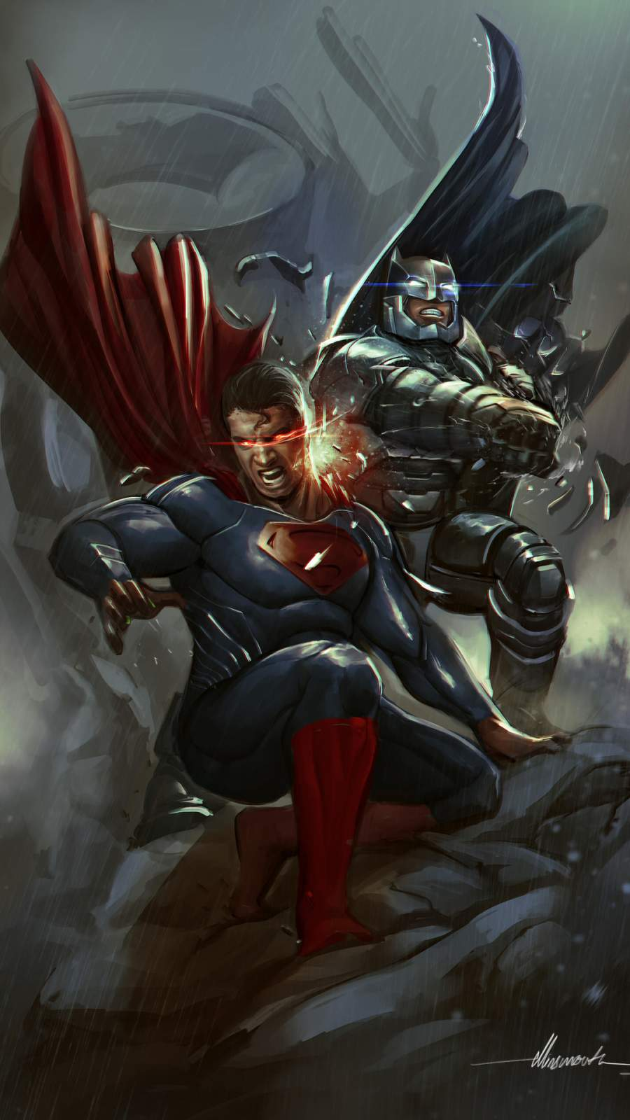 Batman vs Superman Fight iPhone Wallpaper
