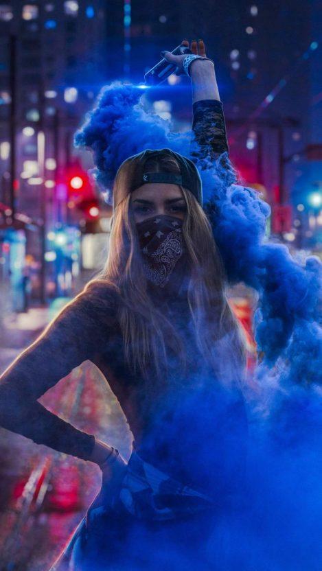 Blue Smoke Girl iPhone Wallpaper