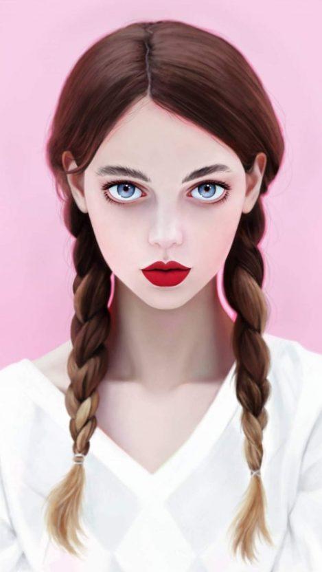 Brunette Blue Eyes iPhone Wallpaper