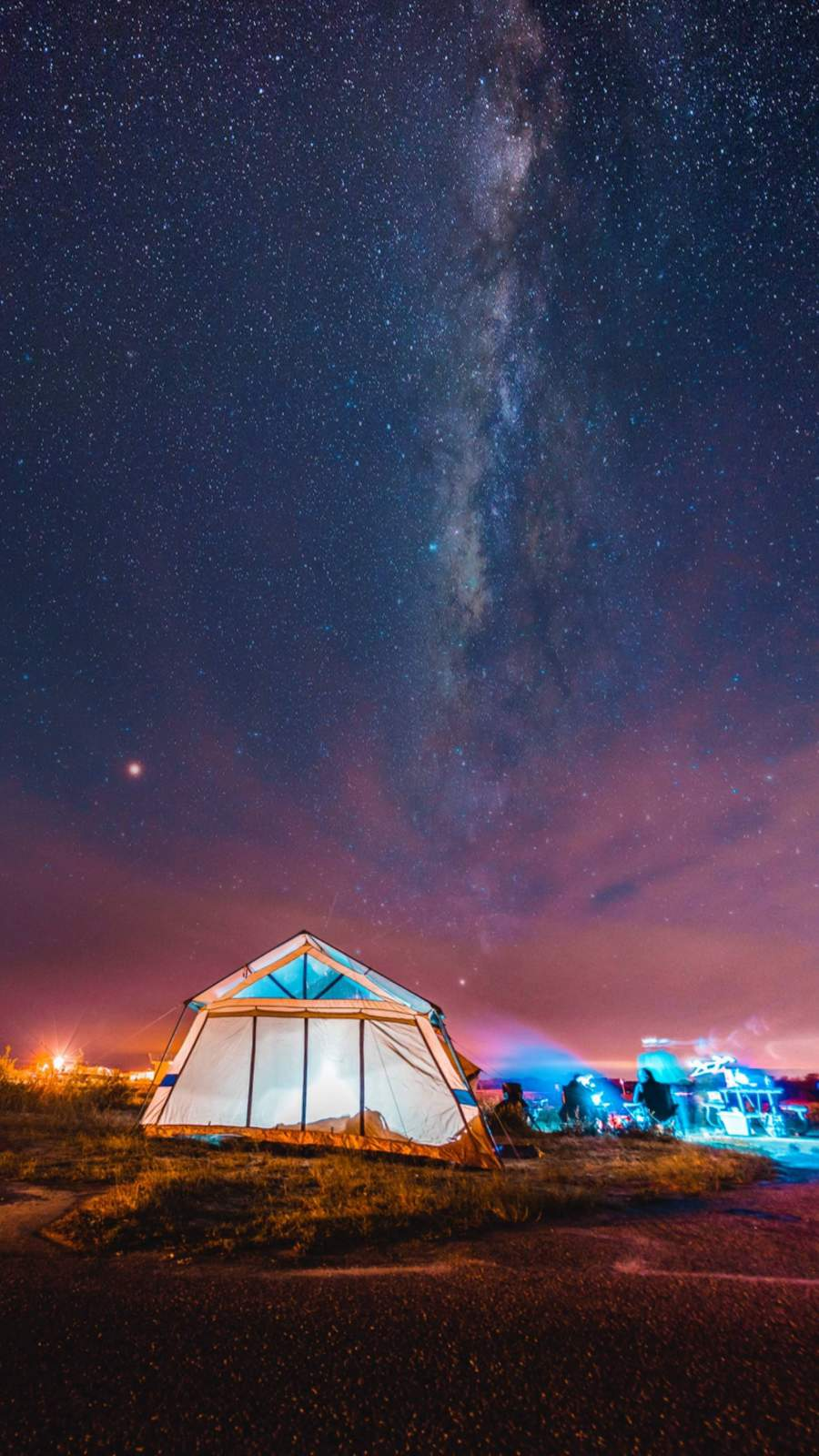 Camping Night Sky iPhone Wallpaper