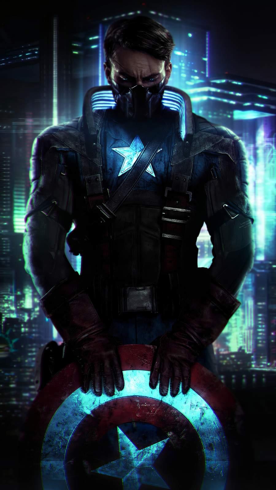Captain America Cyberpunk iPhone Wallpaper