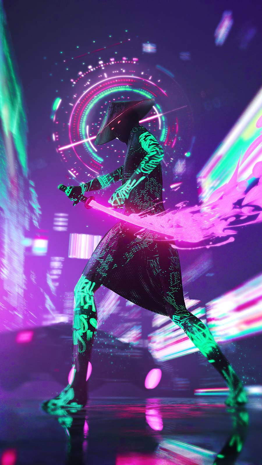 Cyberpunk Ninja iPhone Wallpaper