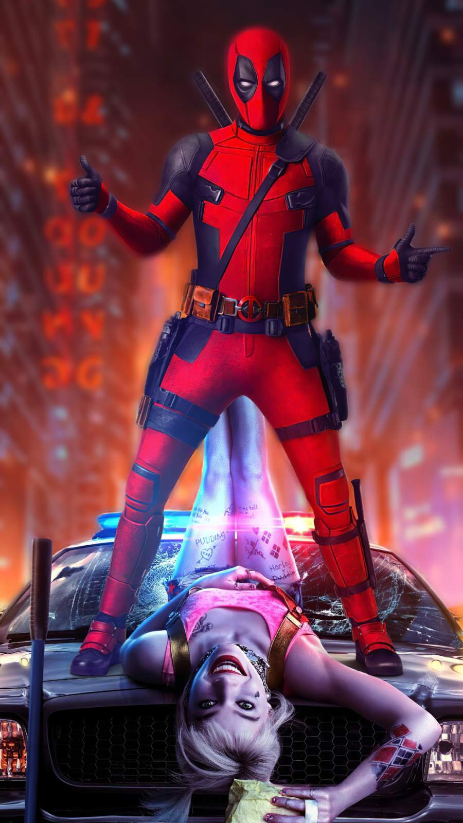 Deadpool with Harley Quinn iPhone Wallpaper