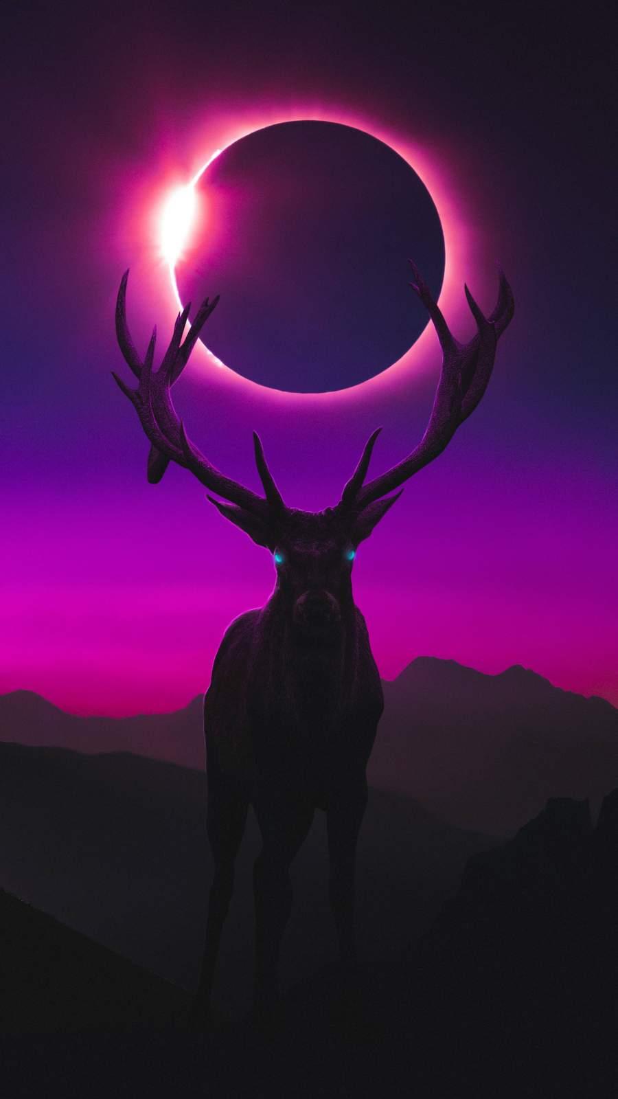 Deer and Moon iPhone Wallpaper