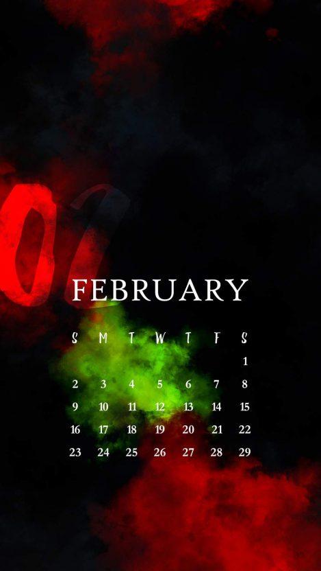 February Calendar iPhone Wallpaper