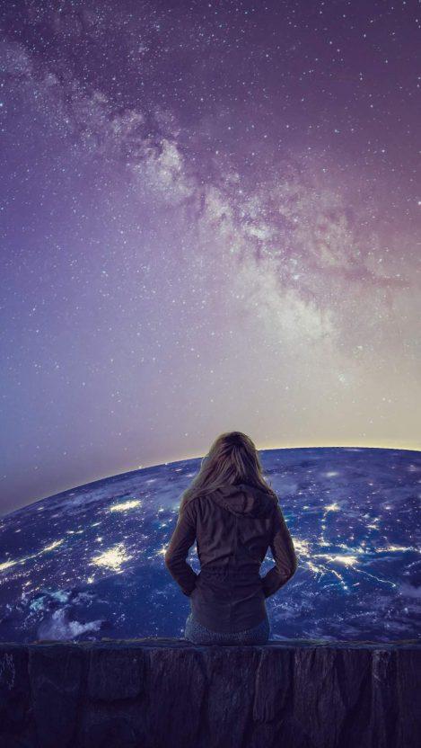 Galaxy Girl iPhone Wallpaper