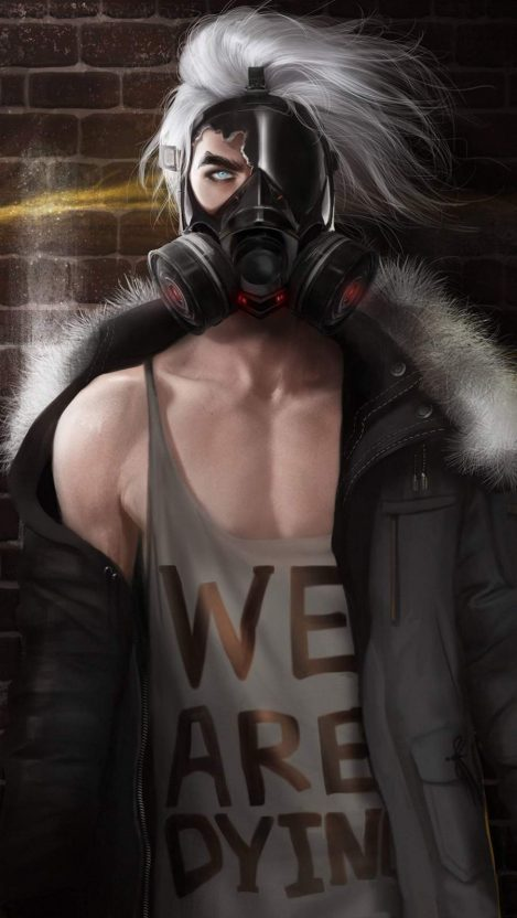 Gas Mask Anime Boy iPhone Wallpaper