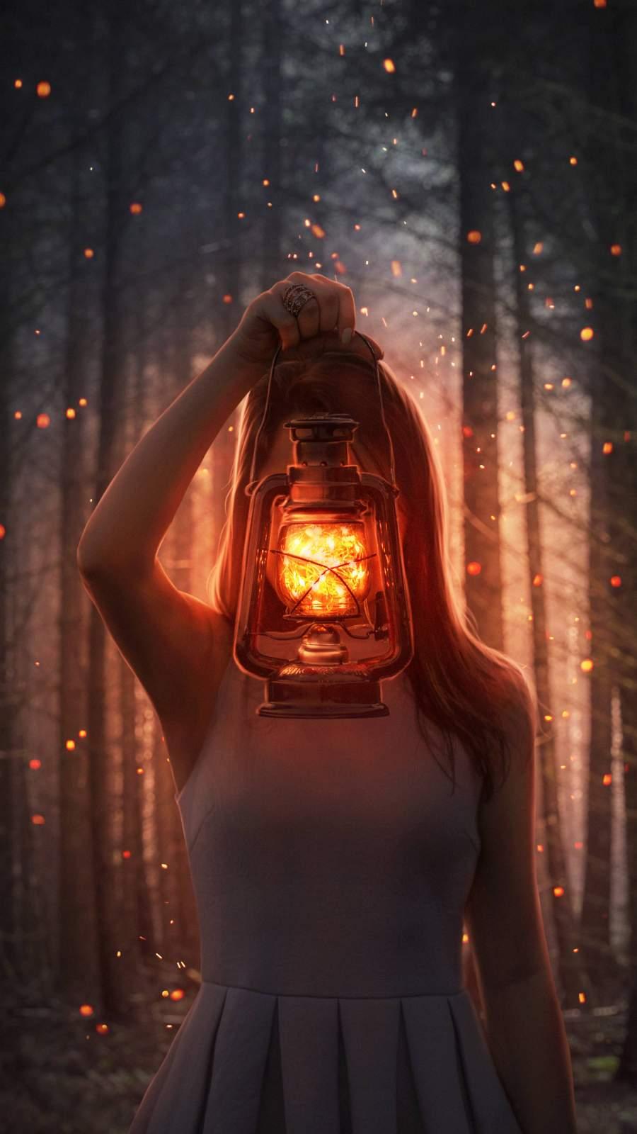 Girl with Lantern iPhone Wallpaper