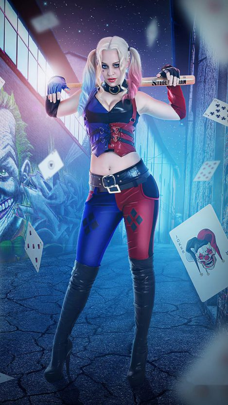 Harley Quinn Cosplay 4k iPhone Wallpaper