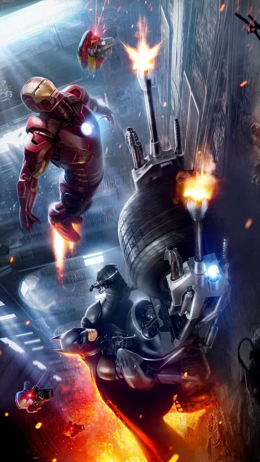 Iron Man with Batman iPhone Wallpaper