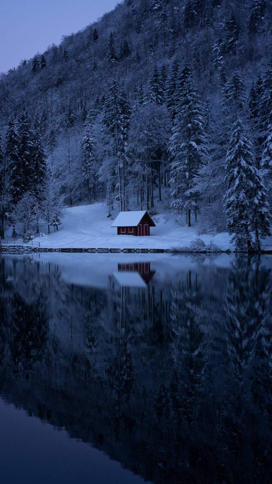 Lake Forest Snow Cabin iPhone Wallpaper