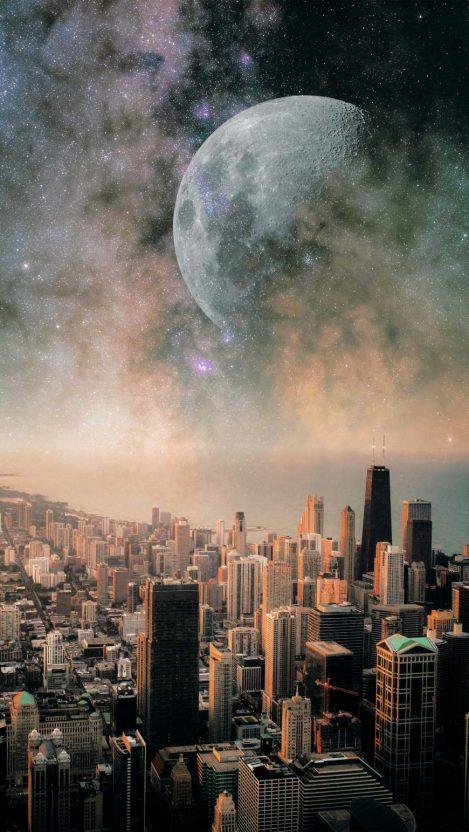 Moon City iPhone Wallpaper