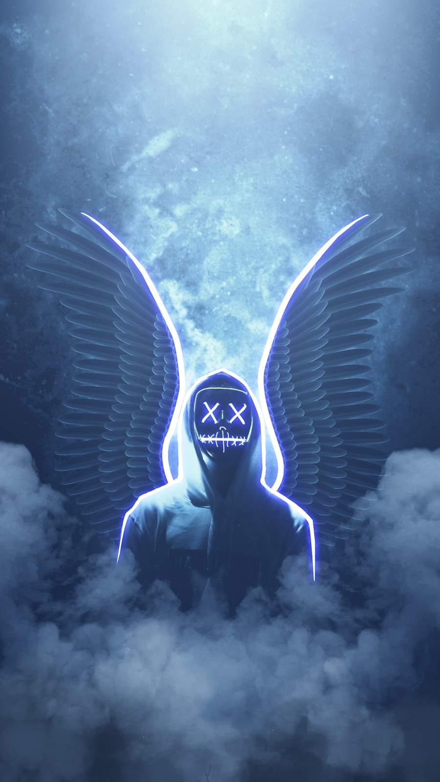 Neon Angel iPhone Wallpaper