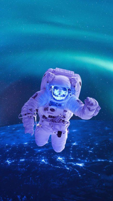 Neon Astronaut iPhone Wallpaper