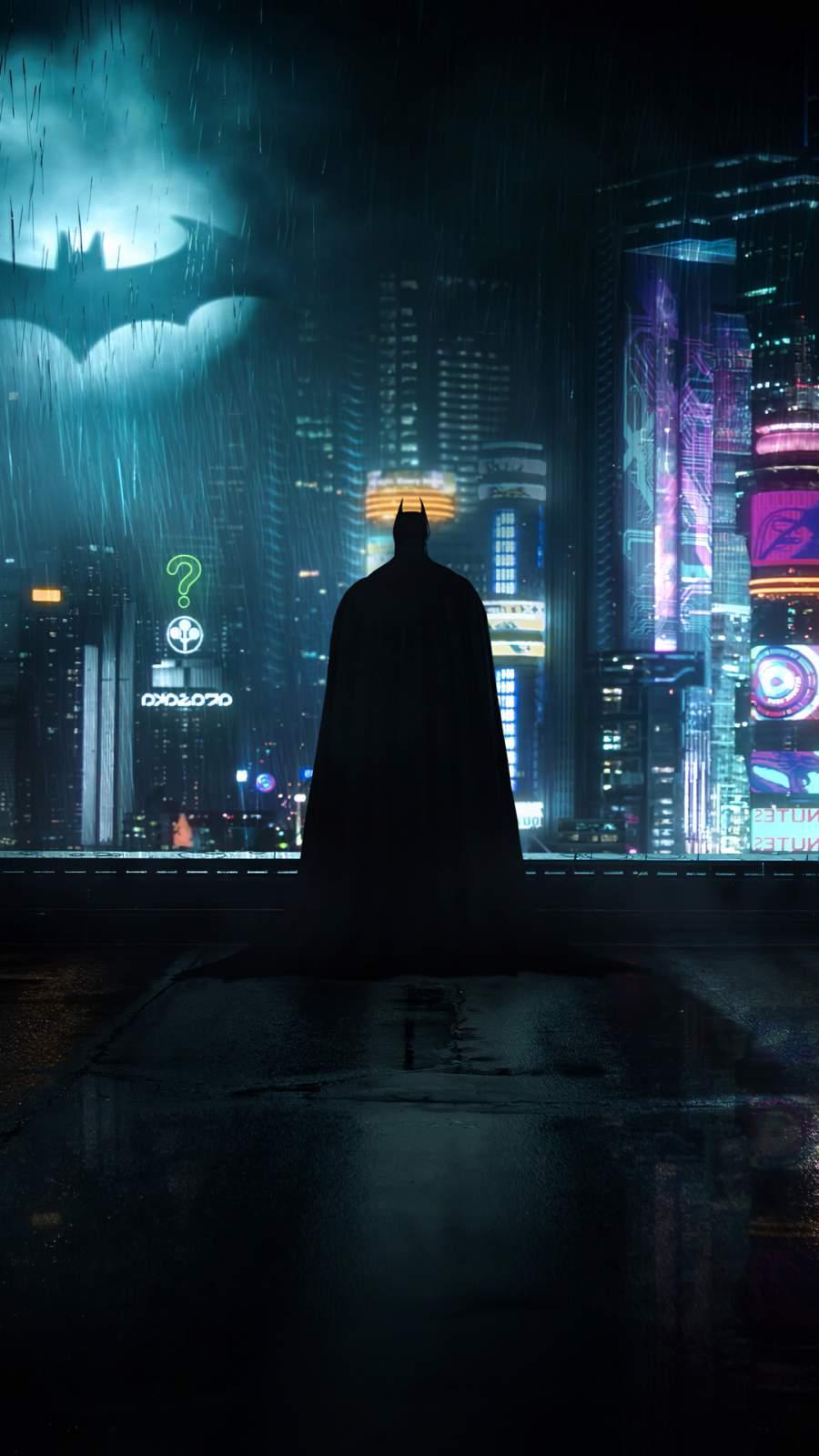 Neon Gotham Batman iPhone Wallpaper