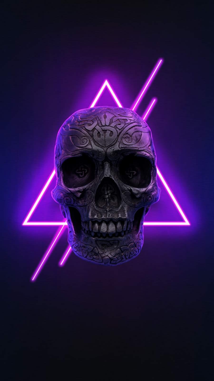 Neon Skull iPhone Wallpaper