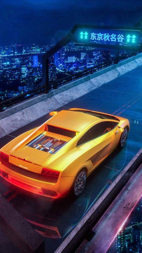 Orange Lamborghini iPhone Wallpaper