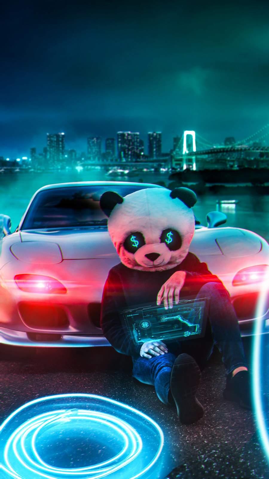 Panda Money iPhone Wallpaper