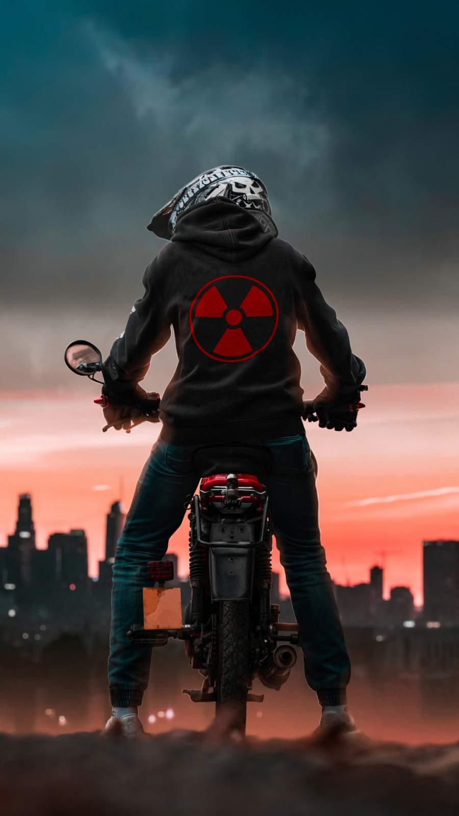 Radioactive Biker iPhone Wallpaper