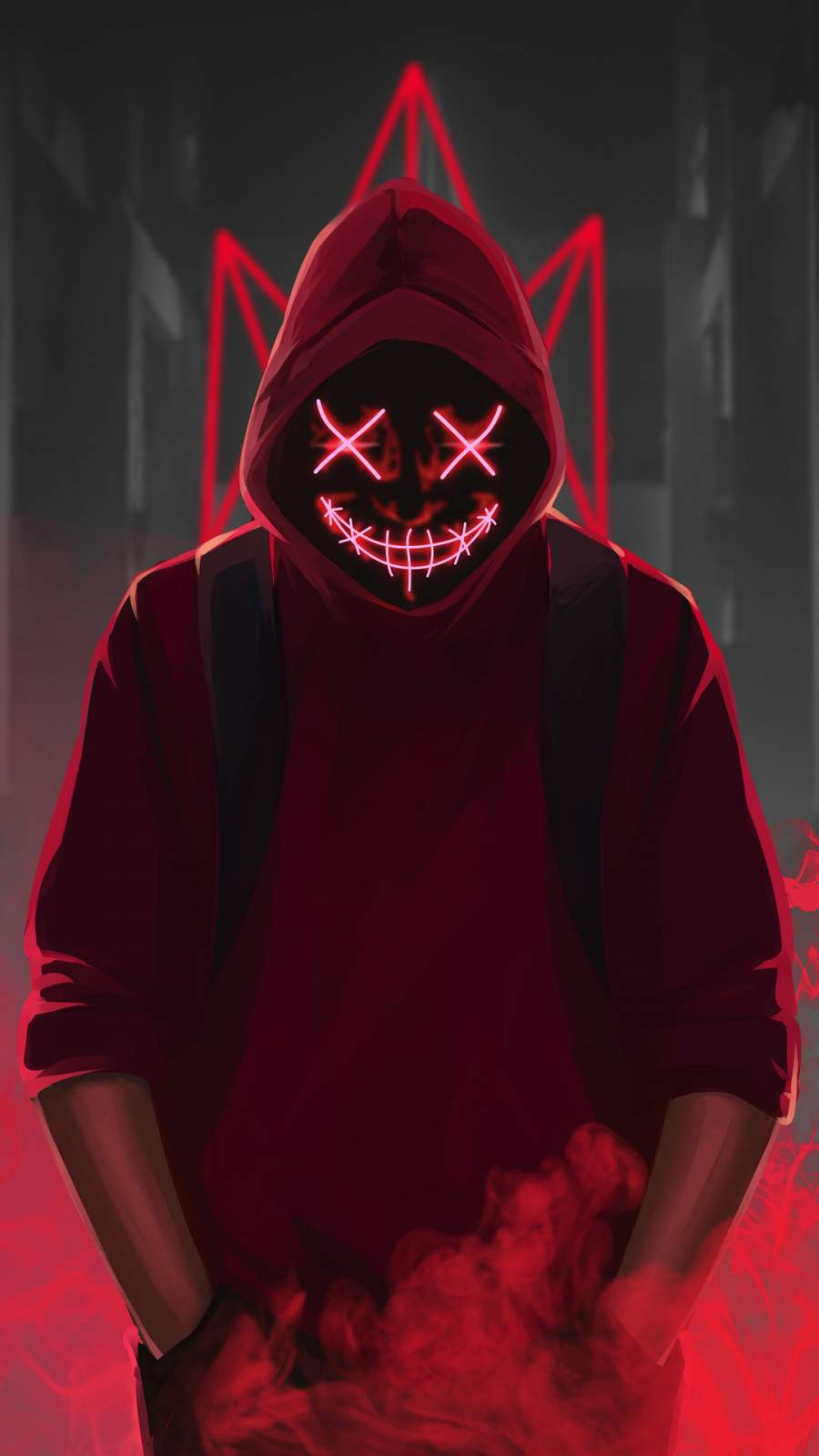 Red Mask Neon Eyes iPhone Wallpaper