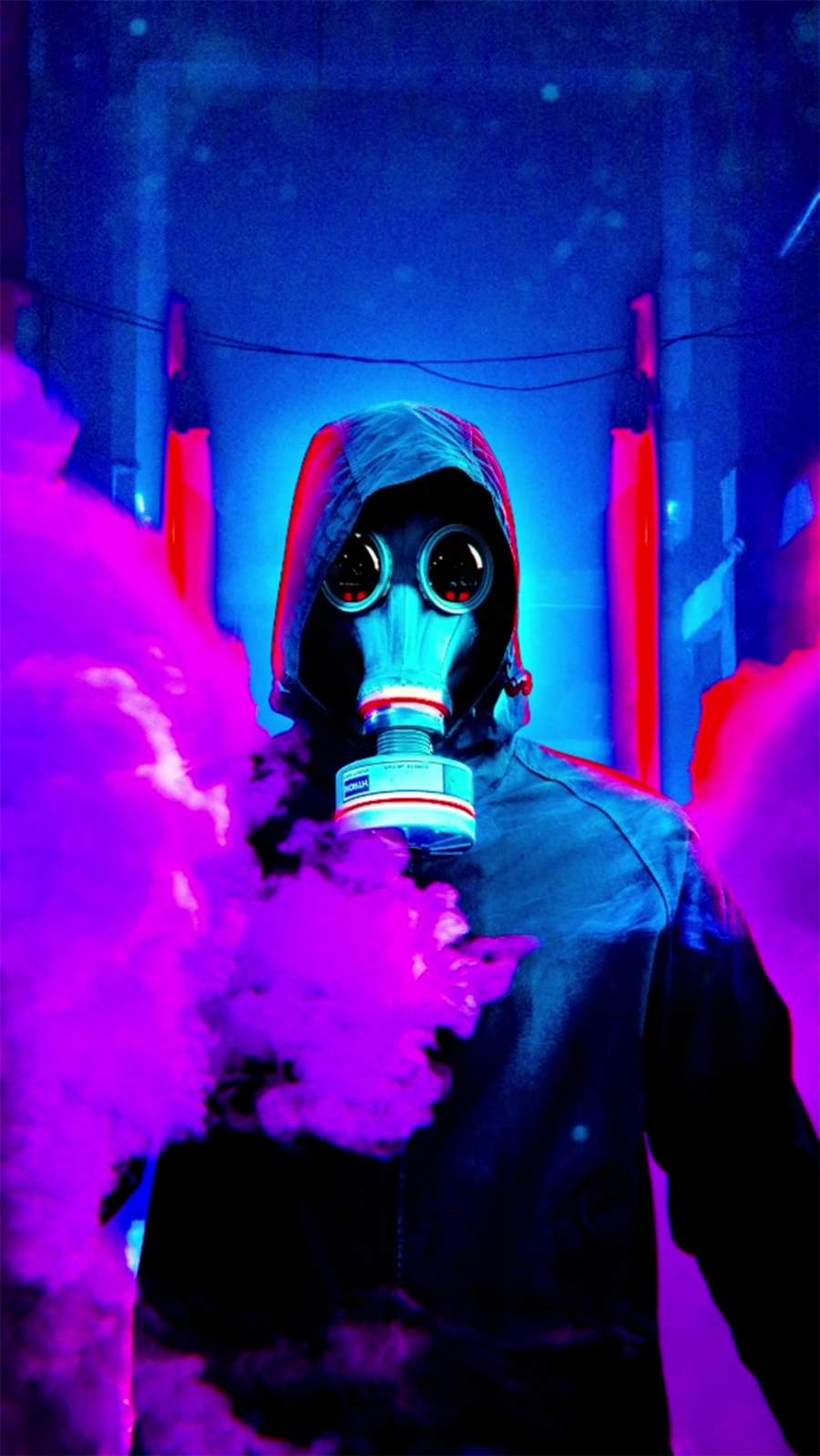 Smoke Neon Mask iPhone Wallpaper