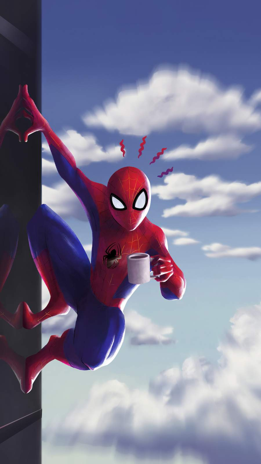 Spider Man Coffee iPhone Wallpaper