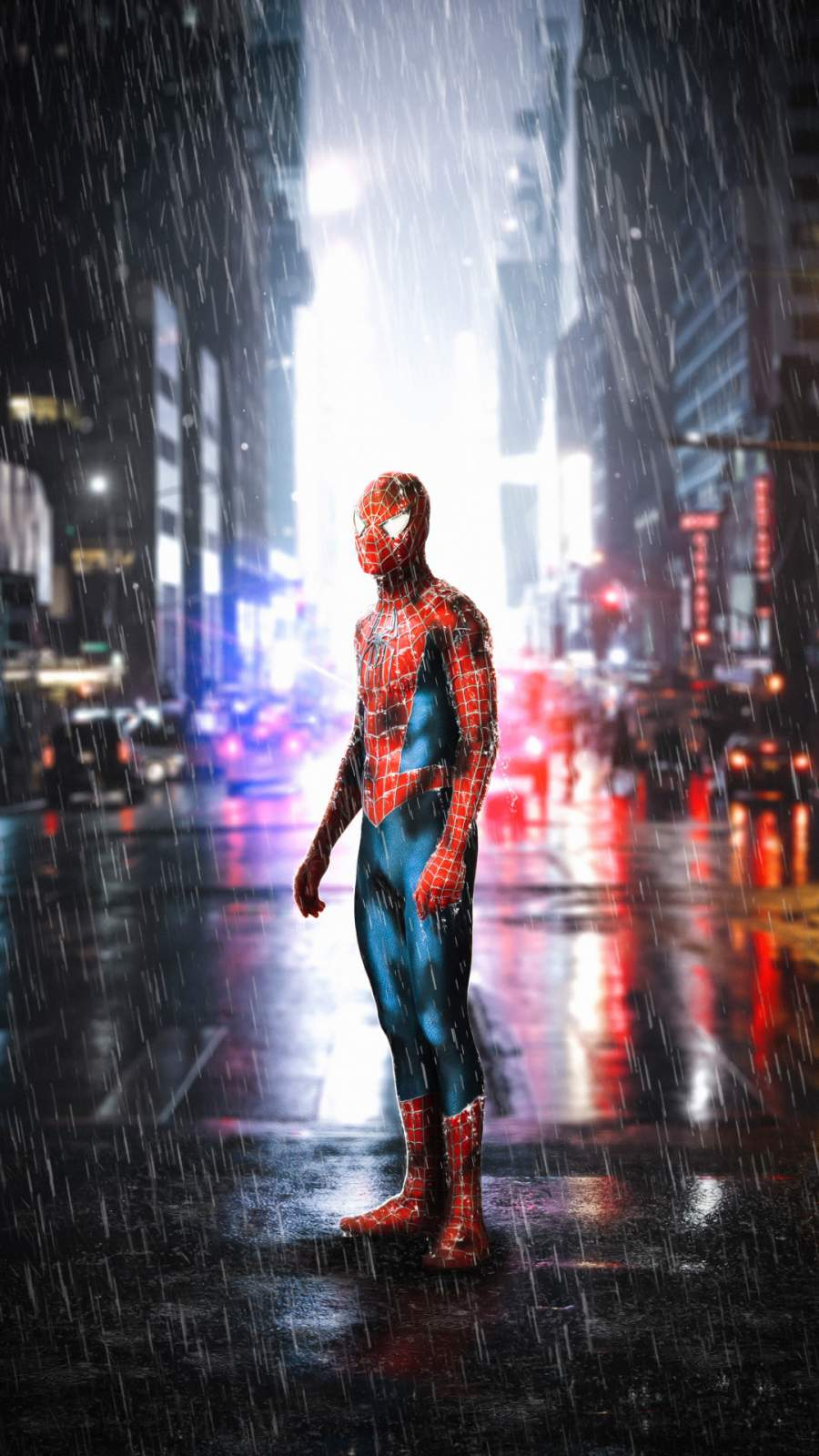 Spiderman in Rain iPhone Wallpaper
