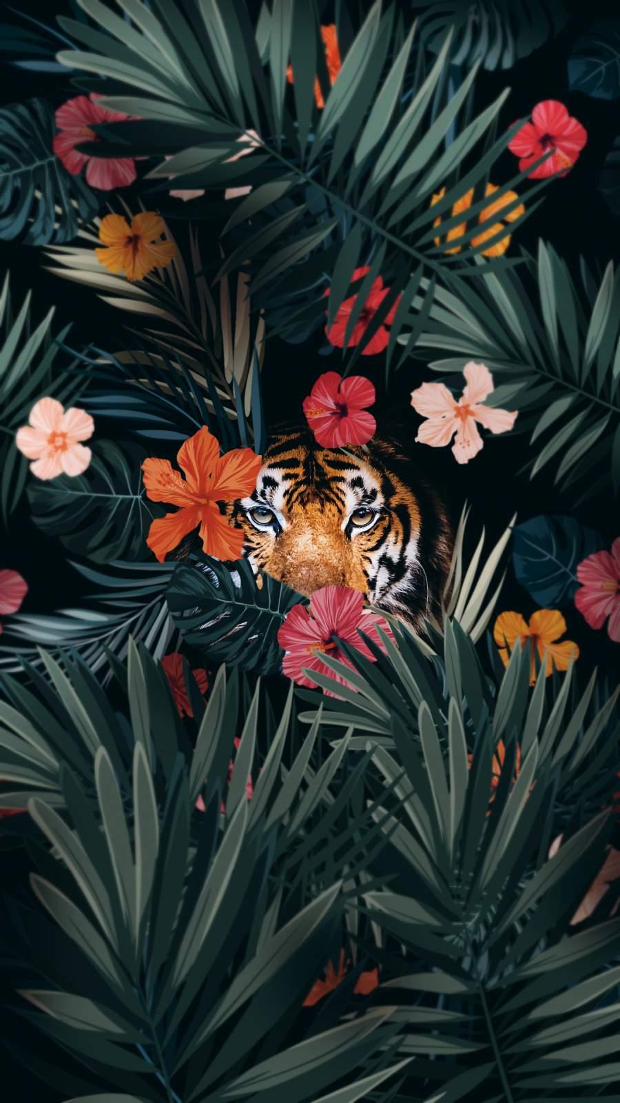 Tiger Hiding iPhone Wallpaper