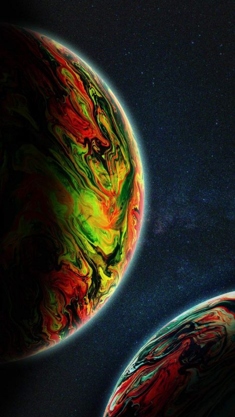 Two Green Planets iPhone Wallpaper
