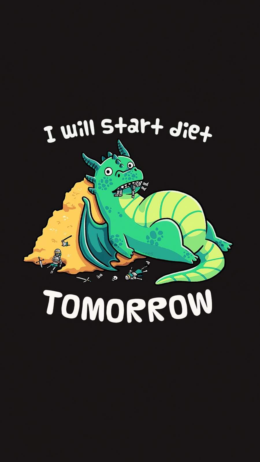 i Will Start Diet Tomorrow iPhone Wallpaper