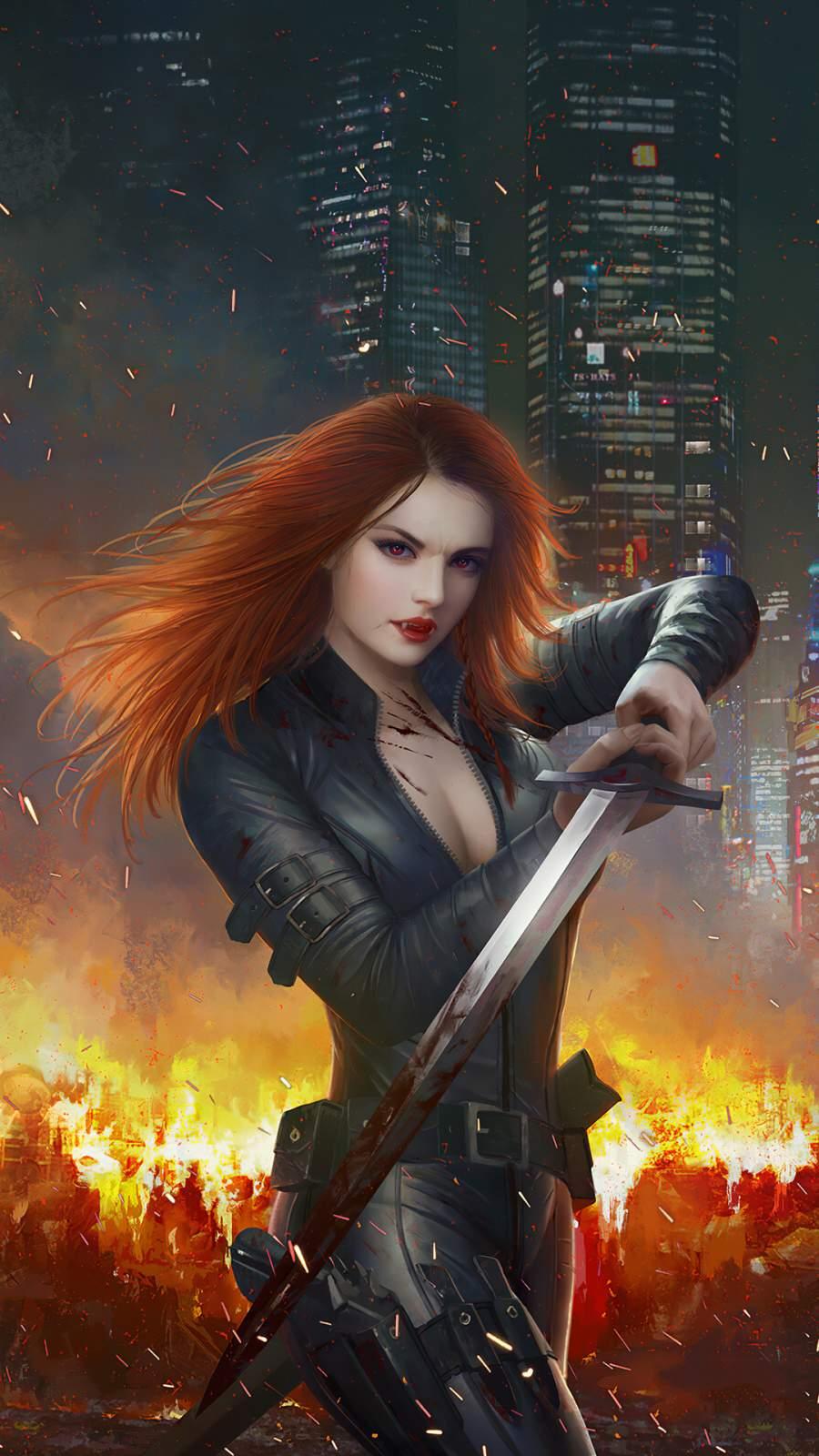 Black Widow Sword iPhone Wallpaper