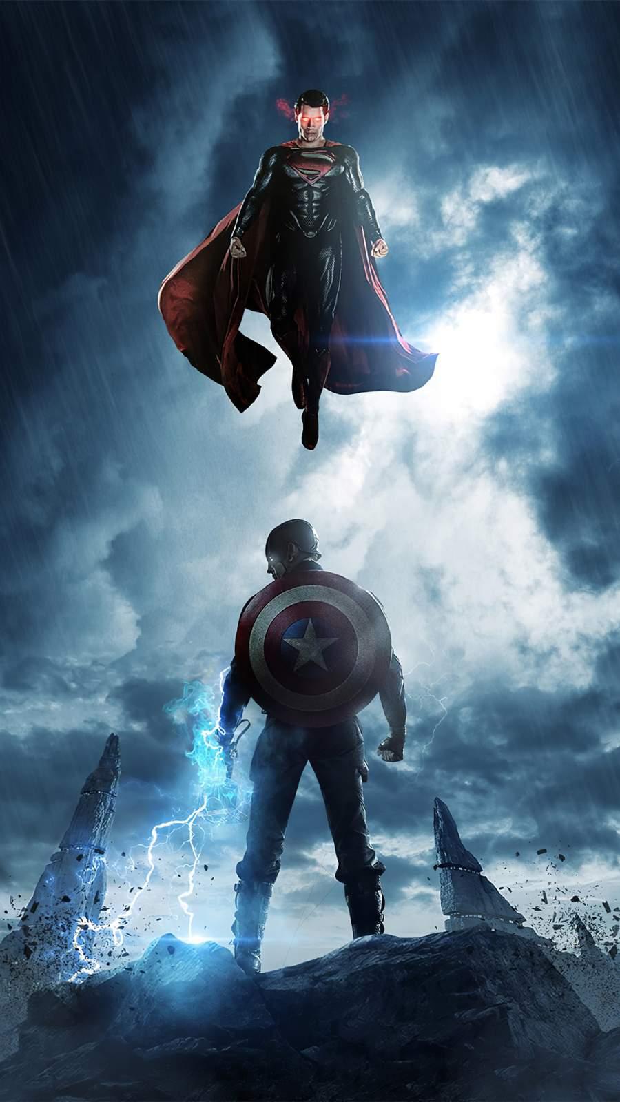 Captain America vs Superman iPhone Wallpaper