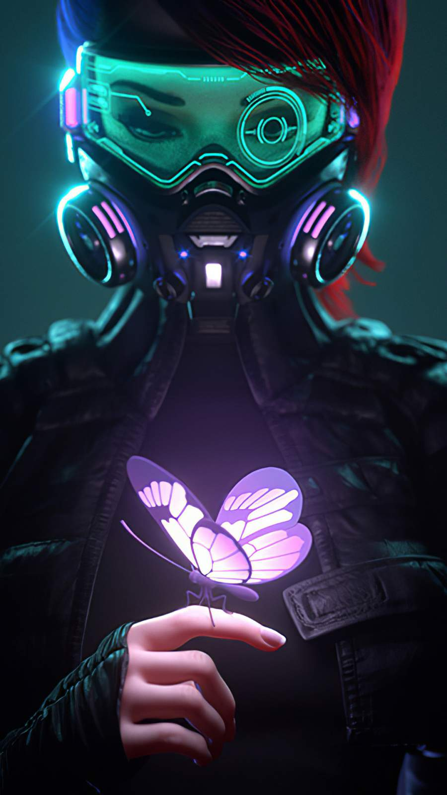 Cyberpunk Girl in a Gas Mask Looking at the Glowing Butterfly iPhone Wallpaper