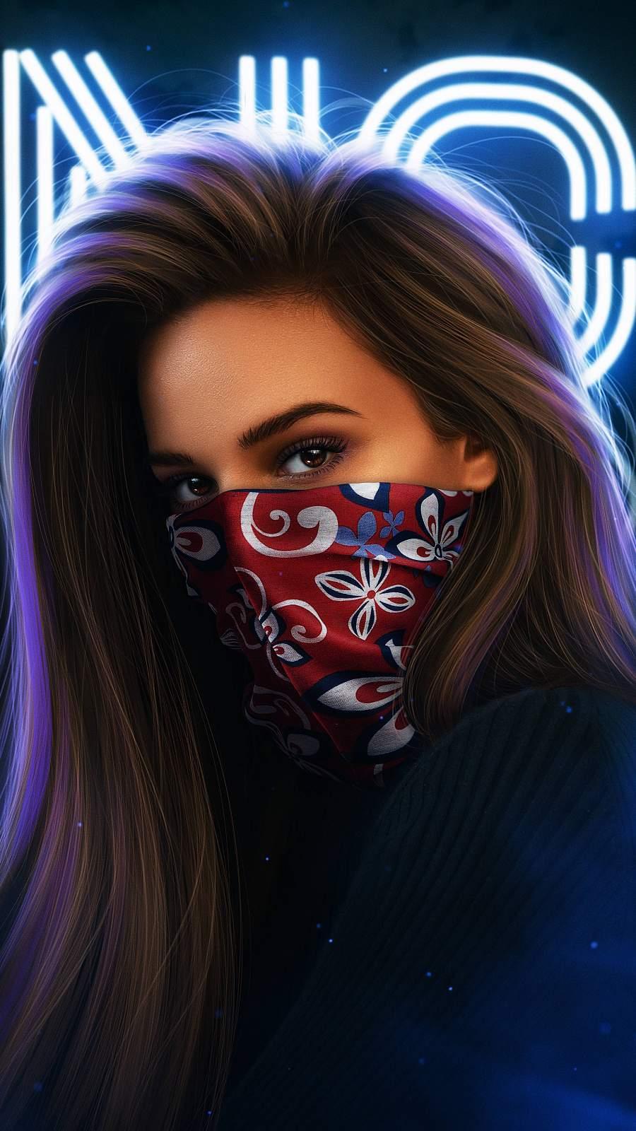 Masked Girl iPhone Wallpaper