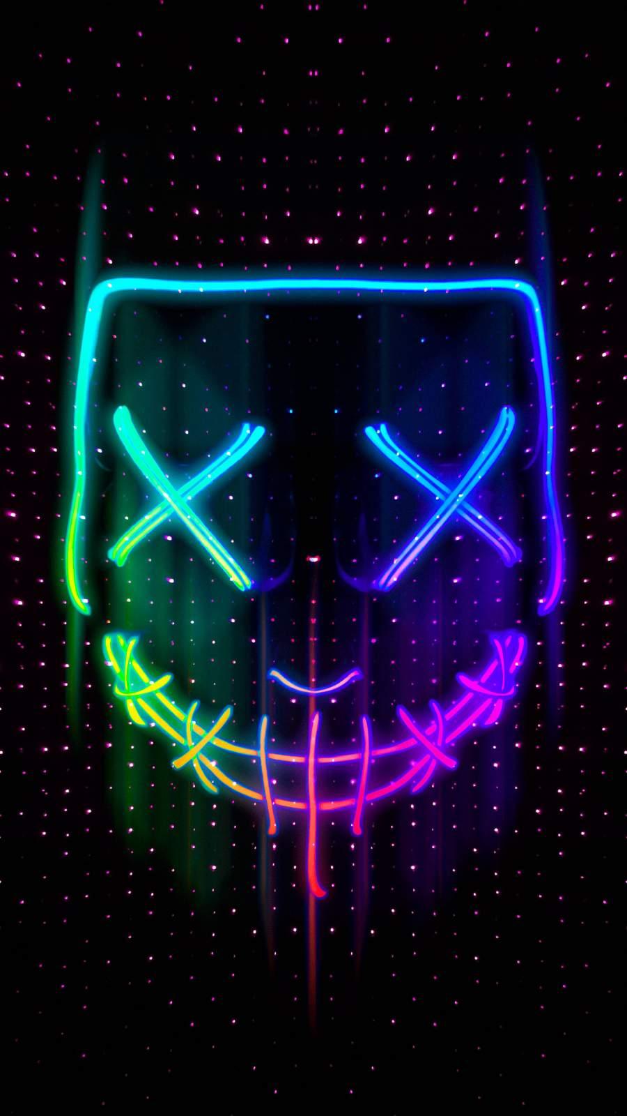 Neon Mask iPhone Wallpaper