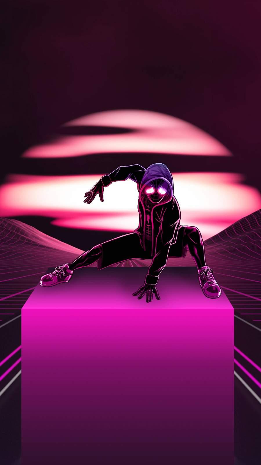 Neon Spider Man iPhone Wallpaper