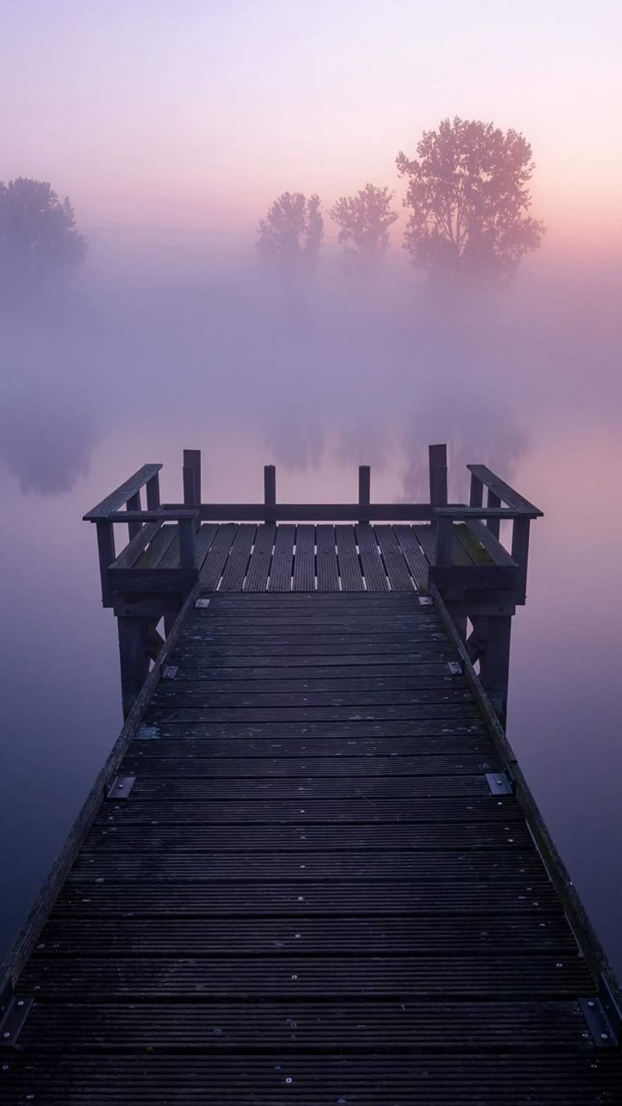 Pier Lake Fog Nature Reflection iPhone Wallpaper