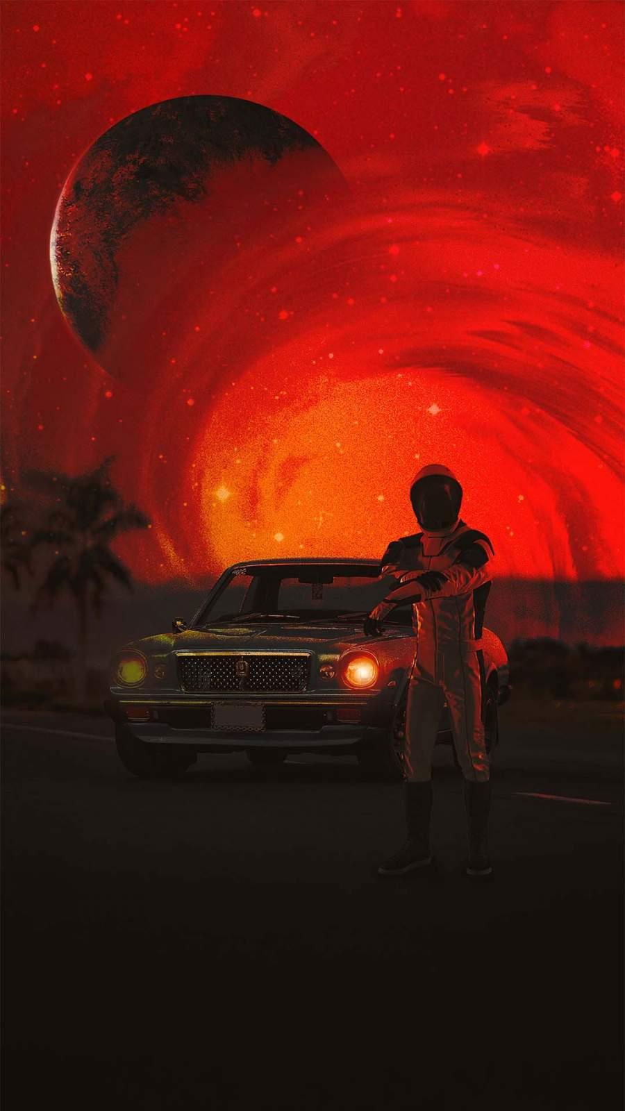 RED World Astronaut iPhone Wallpaper