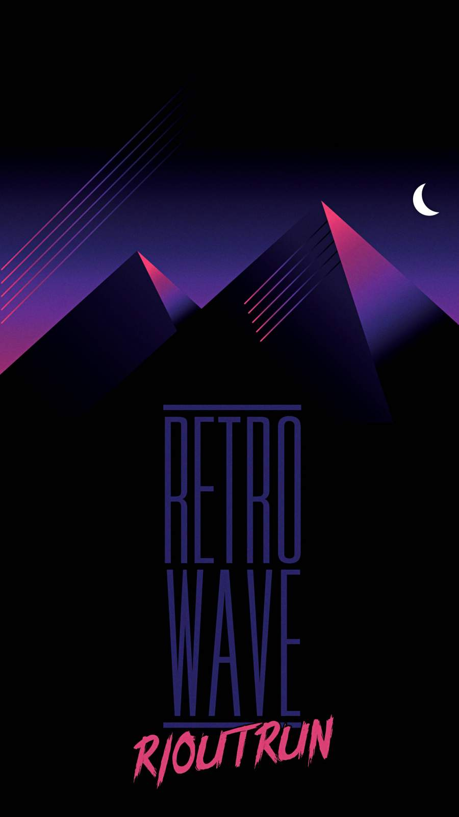 Retrowave Outrun Mountains Night iPhone Wallpaper