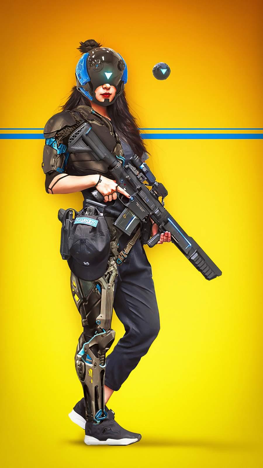 Scifi Soldier Girl iPhone Wallpaper