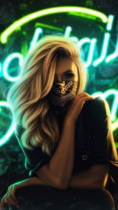 Blonde Girl Face Mask
