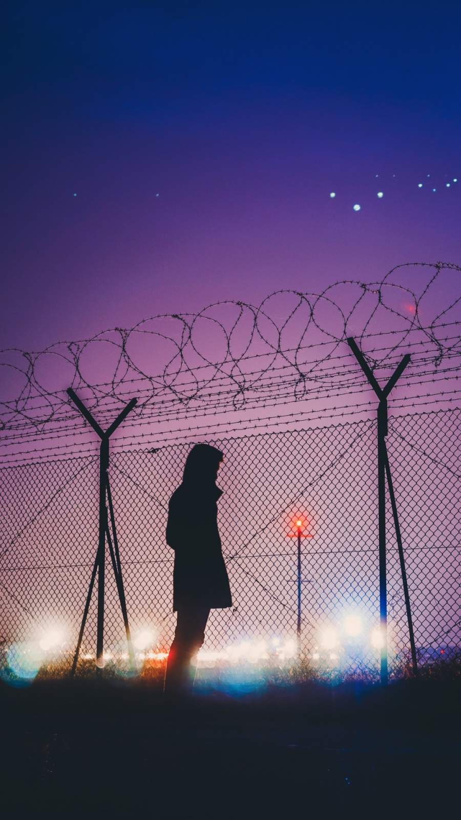 Night Lights Person Standing Behind Fence Silhouette
