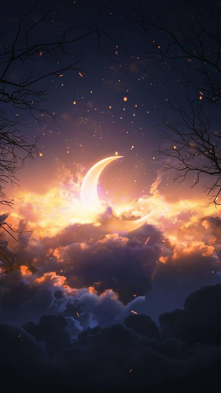 Cloudy Moon Wallpaper