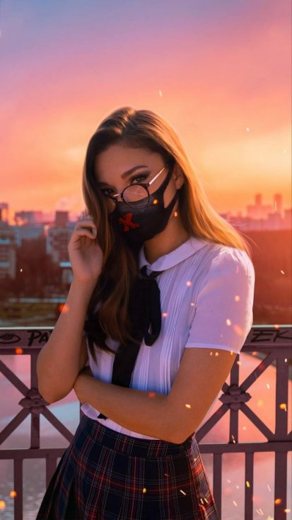 Cute Girl with Mask