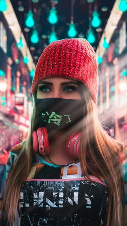 Girl with Mask Wallpaper