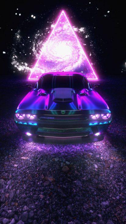 Neon Dodge Challenger