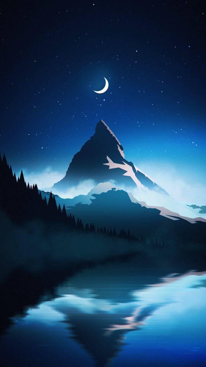 Starry Night Mountain Wallpaper